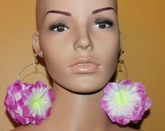 Purple flower earrings;Flower hoop earrings;Tropical earrings;Diva earrings;Hawaii earrings;Purple jewelry;Pierced or clip-on earrings