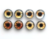 Set of 4 pairs handmade glass eye cabochons - 10mm - brown / grey eyes - Standard profile
