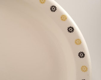 Vintage Homer Laughlin Platter, Black and Gold Daisy Pattern