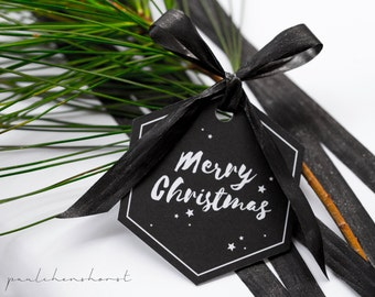 Gift tags Merry Christmas | 6 PCs. | Gift wrapping gift label name pendants Christmas day trailer