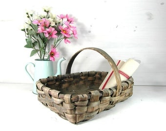 Antique harvest basket, gathering basket, French vintage hand crafted basket, woven wood basket, French country decor, garden basket.