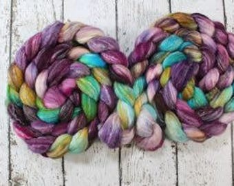 merino/bamboo/silk combed top ~ 4 ounces, spinning, needle felting, wet felting, luxurious to spin