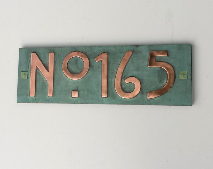 "Mission Mackintosh style house sign with plywood back, 3""/75mm, 4""/100mm high, custom made,  'No' followed your 3 x number' g"