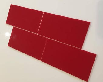 "Red Gloss Acrylic Rectangle Crafting Mosaic & Wall Tiles, Sizes: 1cm to 25cm -  1"" to 10"""