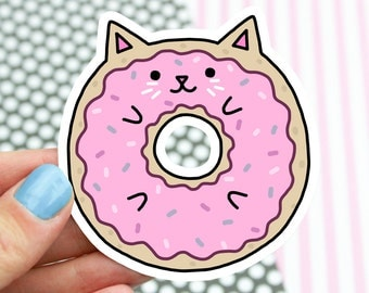 Cat Sticker, Sweet Cat, Pop Stickers, Donut Cat, Gift For Her, Cute Cats, Kitty Decal, Girlfriend Gift, Laptop Decal, Car Sticker, Kawaii