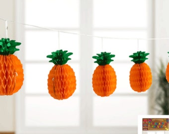 Tropical garland, pineapple garland, tropical theme, fruit party decor, honeycomb balls, jungle party, hanging decorations, hawaiian party