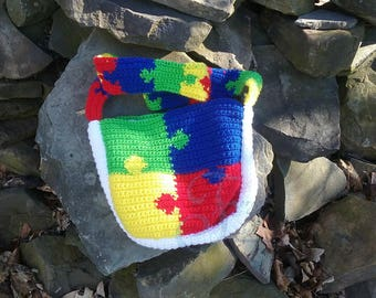 crochet purse, crochet tote, handmade purse, handmade tote, autism bag, autism purse, autism tote, unique crochet, puzzle bag, shoulder bag