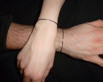 Unisex Bracelet with Delica Rocailles silver or gold beads - men bracelet or women bracelet - fine thin fancy - many colours available