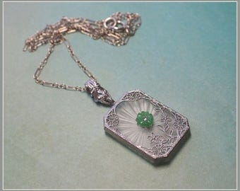 Vintage 1920's Camphor Glass Pendant Necklace - Sterling Silver Chain - Green Glass Flower & Rhinestone  Center