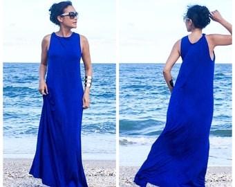 Royal blue   Sleeveless  Beach evening long maxi Sun dress All size