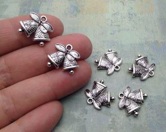 10 Wedding Bells Charms / Antique Silver Wedding Bells Charms / Wedding Charms / Silver Double Bell Charms / Choose quantity
