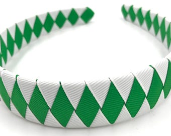 Ribbon Woven Headband in Green and White Jets, Jeffers Team Colors