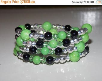 20%OFF Apple Green Candy Jade and Black Onyx Wrap Bracelet