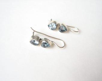 Vintage sterling silver blue stone earrings, topaz blue earrings, pale blue drops, aqua blue earrings