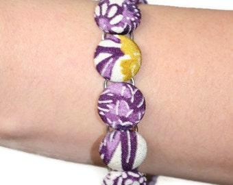 Japanese Kimono Bracelet - Handmade Bracelet - Fabric Covered Buttons Bracelet