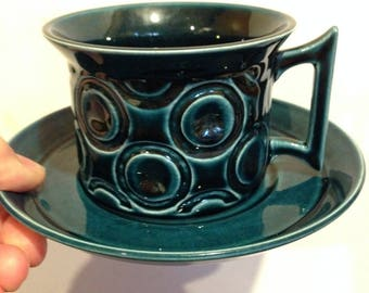 Portmeirion - Vintage Portmeirion tea cup and saucer Jupiter pattern petrol blue teal perfect condition