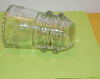 Vintage, Clear Glass Insulator, Hemingray 9, Small Glass Insulator, Home Decor, Craft Glass