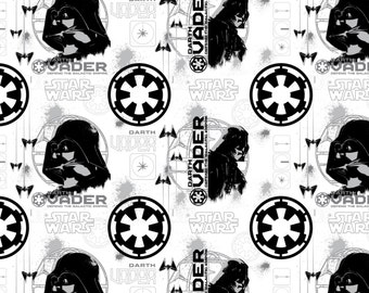 Star Wars fabric - Rogue One Darth Vader on White- Camelot - stormtrooper fabric, the Dark Side, Darth Vader, tie fighter, Stormtroopers