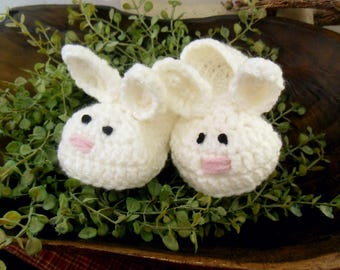 Baby Easter Slippers, Bunny Slippers, Crochet Rabbit Slippers, White Bunny slippers, infant slippers, crochet slippers