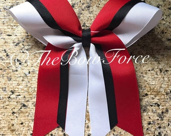 Red White Black  Cheer/Softball bow