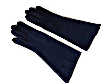 Black Gloves Embroidered French Knots Gauntlet Size 6.5 Heavy Cotton