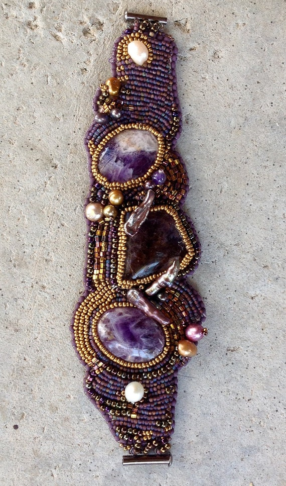 Amethyst bead embroidered bracelet