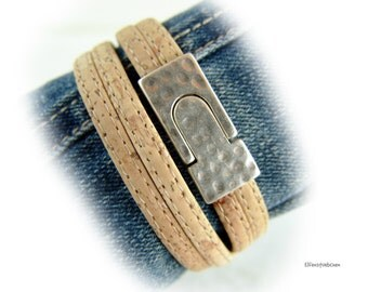 Womens vegan cork leather bracelet silver - hammered magnetic clasp - gift for her best friend girlfriend wife mother xmas