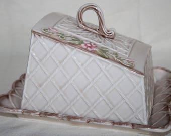 Great butter dish butter Bell cheese cover England vintage shabby antique L: 23 cm