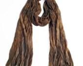 FOR LISA // Earth tone scarf, skinny chiffon, tight crinkle