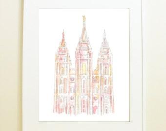 Salt Lake City, Utah Temple Watercolor Print/ Light Pink