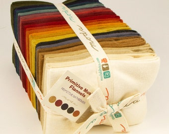 Moda Primitive Muslin Flannel Primitive Gatherings Colors Solid Flannel 25 Fat Quarters Fabric