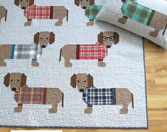 Dogs in Sweaters Dog Elizabeth Hartman Quilt Modern Pattern 3 Sizes