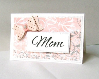 For Mom gift card, Gift card holder, Present to mom, Pink and grey, Gray & pink, Polka dot bow, Silver, Appreciation, Mother's Day, Birthday