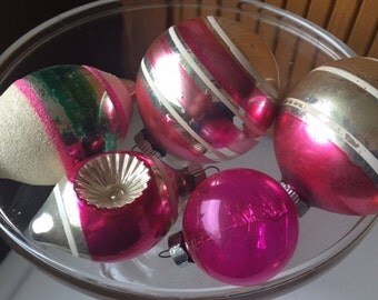 Collection of 5 vintage made in the USA Christmas ornaments