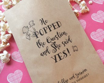 Popcorn Bags - He POPPED the question - Set of 50