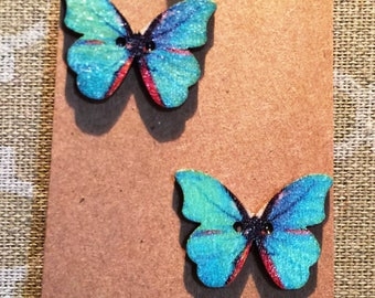 Beautiful painted butterfly earrings on nickel free studs.  Choose by color