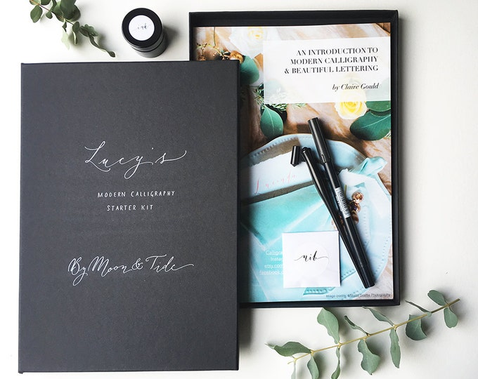 Featured listing image: Beautiful personalised calligraphy starter set with full colour guide book and brush pen