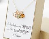 Birthstone Charm Necklace - Grandma Gift - Gifts for Grandma - Grandmother Gift - Grandmother Necklace - Grandma Gift from Grandchildren