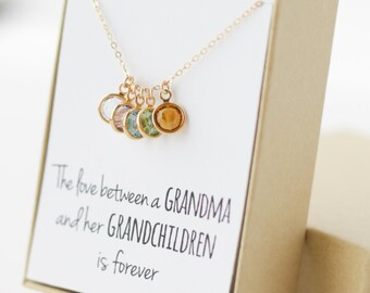 Gifts for grandma etsy birthstone charm necklace grandma gift gifts for grandma grandmother gift grandmother necklace negle Image collections