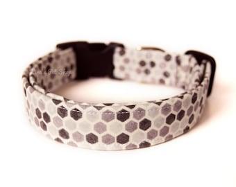 Honeycomb Dog Collar, Gray Unisex Dog Collar, Designer Dog Accessories, Pet Accessories, Adjustable Fabric Collar, Plastic Nickel Brass