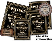 Dance Contest Sign Set Art Deco Roaring 20s Printables The Charleston Fox Trot Black Bottom Dance Lindy Hop Swing Wedding Party Prom Decor