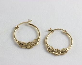 10K Yellow Gold Flower and Leaf Hoop Earrings