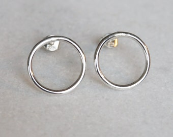 CIRCULAR - stud earrings - sterling silver - by STICKTAILS