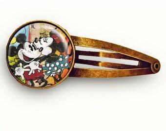 Vintage Mickey and Minnie Hair Clip