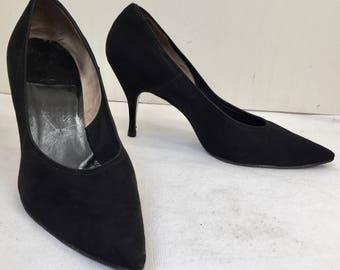 Vintage 1950s Classic Black Suede Stiletto Heel Shoes, SIze 7 1/2 US