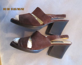 "Brown Suede Chunky Retro Heels""Bette"" by Indeed - Made in Brazil"