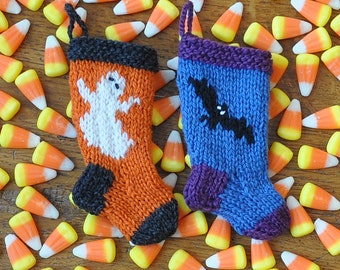 Halloween Ghost and Bats Hand-Knit Christmas Stocking Ornaments