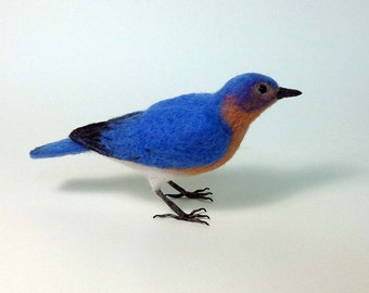 Eastern Bluebird  Needle felted bird - Made to order