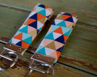 Geometric Triangles Key Fob // Key Wristlet // Key Chain // Geometric Pattern