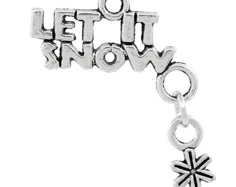 Let it Snow Charms, Silver, Winter Charms, Snowflake charms, Purse Charms, Bag Charms, Clip on Charms, Jewelry Charms, Craft Charms